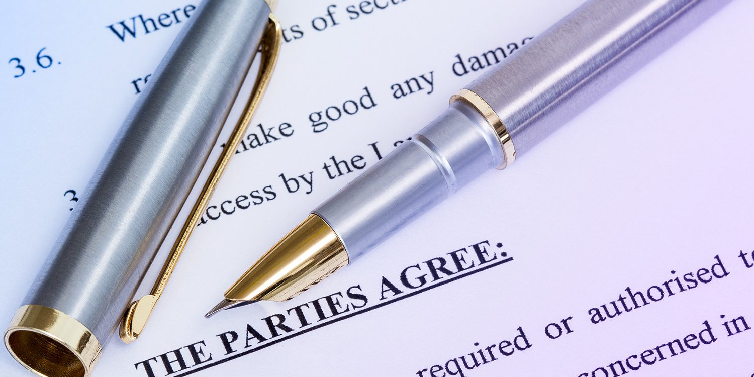 Metal pen with agreement between landlord and tenant